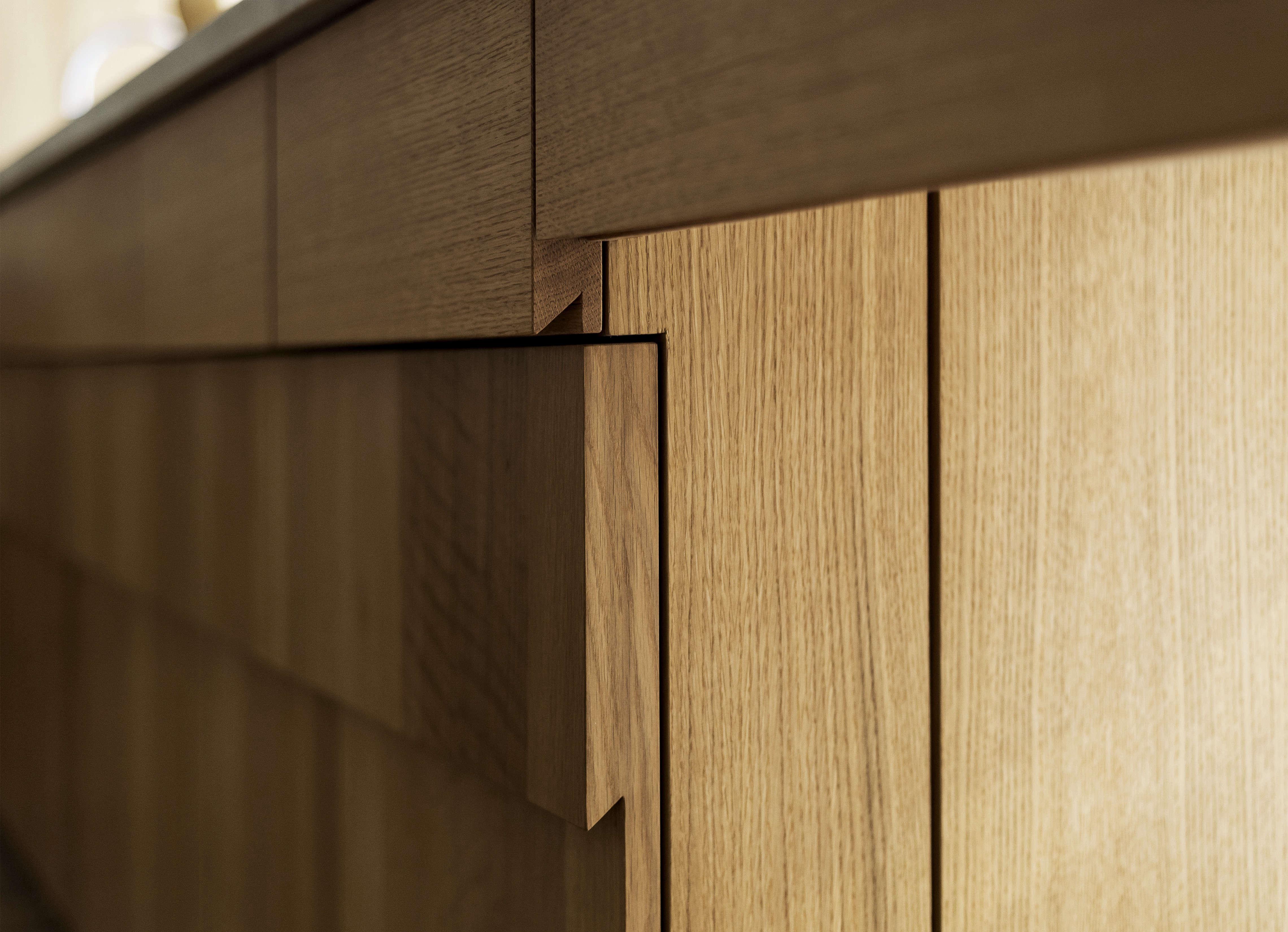 Custom stepped oak kitchen cabinets detail, designed by Workstead, Matthew Williams photo