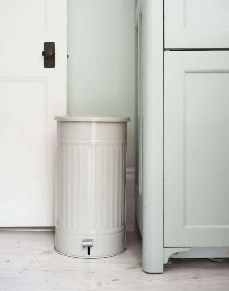 Enameled steel pedal kitchen bin from Garden Trading. Matthew Williams photo