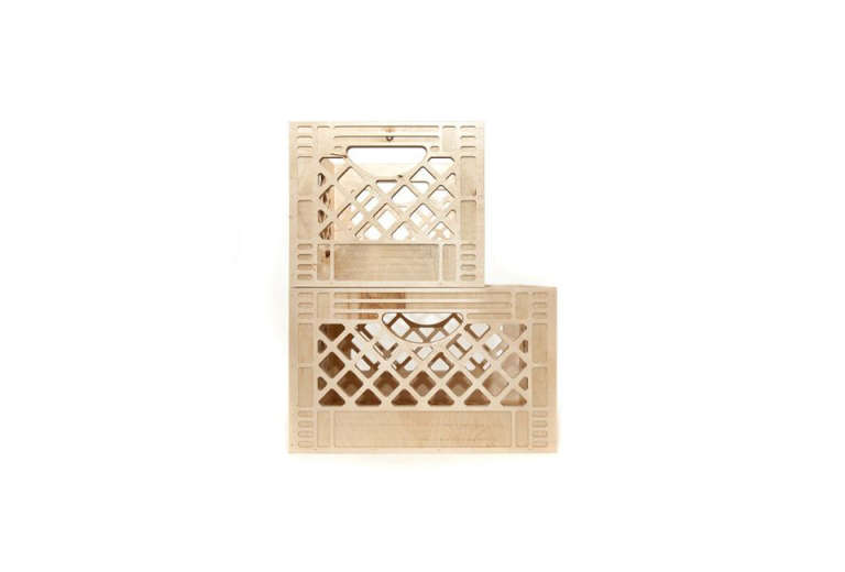 "We Are Always Moving's birch plywood Milk Crates are an improvement on plastic, and can be ""flipped, stacked, carried, or wall-mounted."" Available in four sizes; from $55."