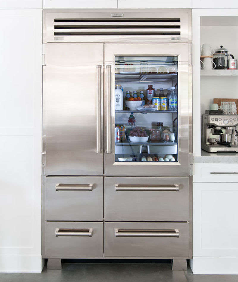 An organized refrigerator is critical when you're dealing with a see-through glass door. Photograph courtesy ofHeather Bullard, from10 Easy Pieces: Glass Door Refrigerators.