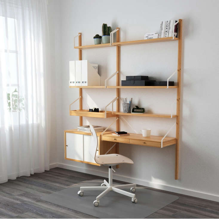 Ikea's new modular Svalnäs Shelving System is made from bamboo with epoxy-coated steel brackets; the Svalnäs combination shown is $281.