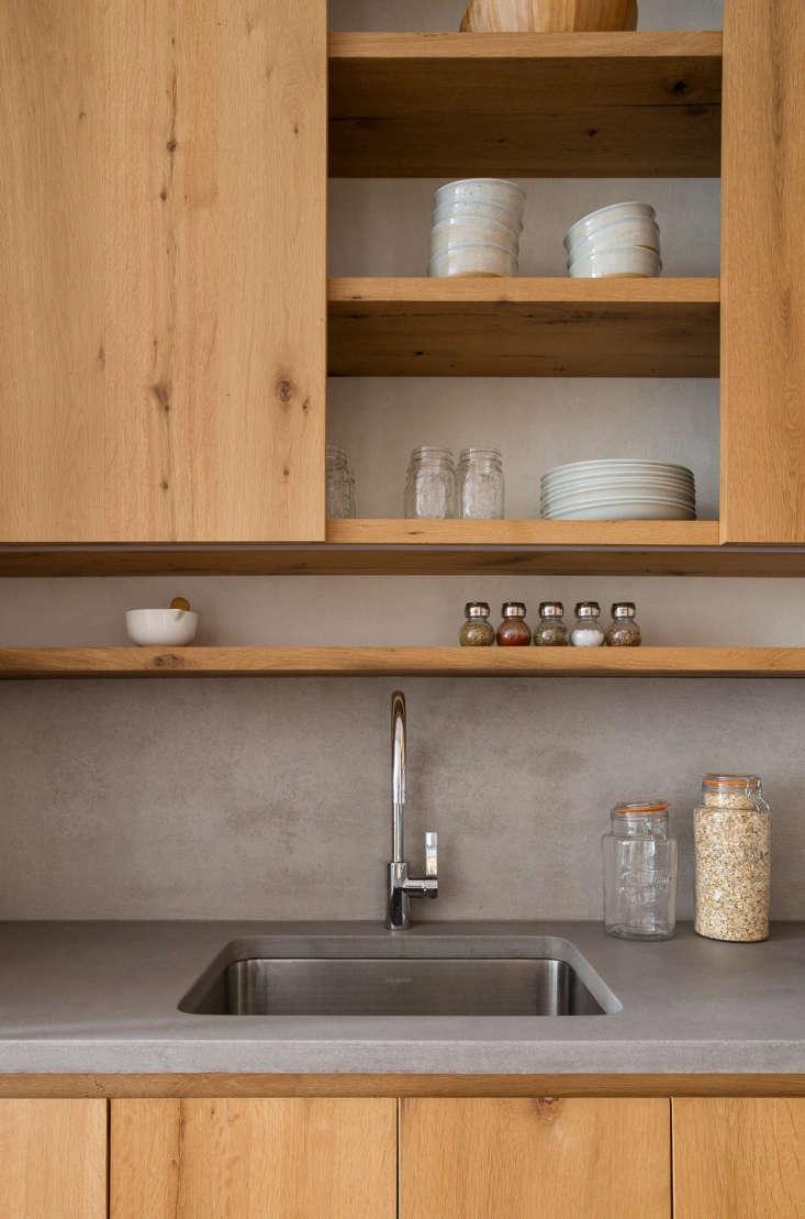 The kitchen faucet is Dornbracht Tara in chrome.