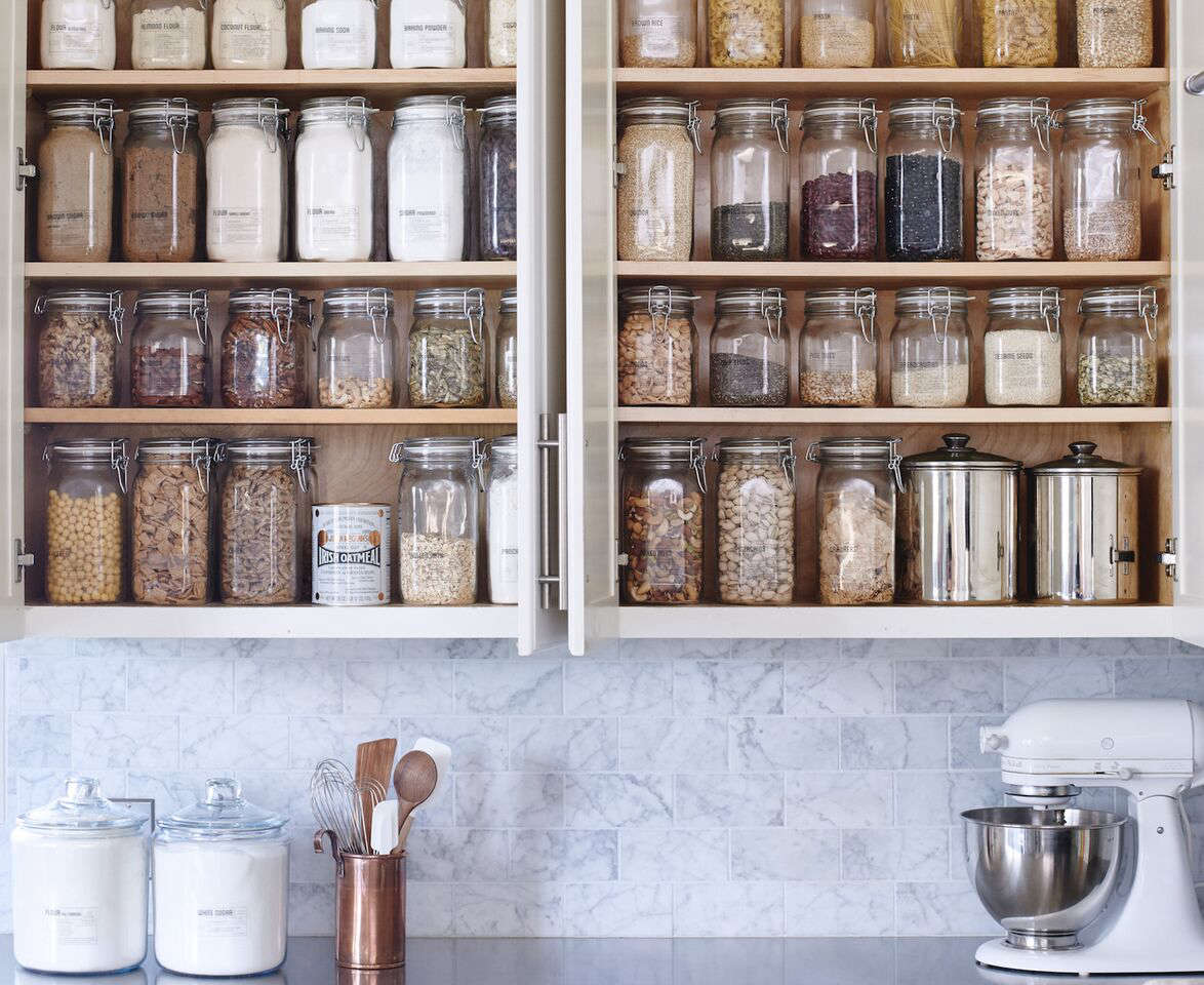 Wiebke also offers pantry kits for homeowners up to tackling their cabinets on their own, starting with a 50-piece DIY Core Pantry Kit, which includes pantry jars and labels, recipe cards, shopping lists, and set-up instructions.