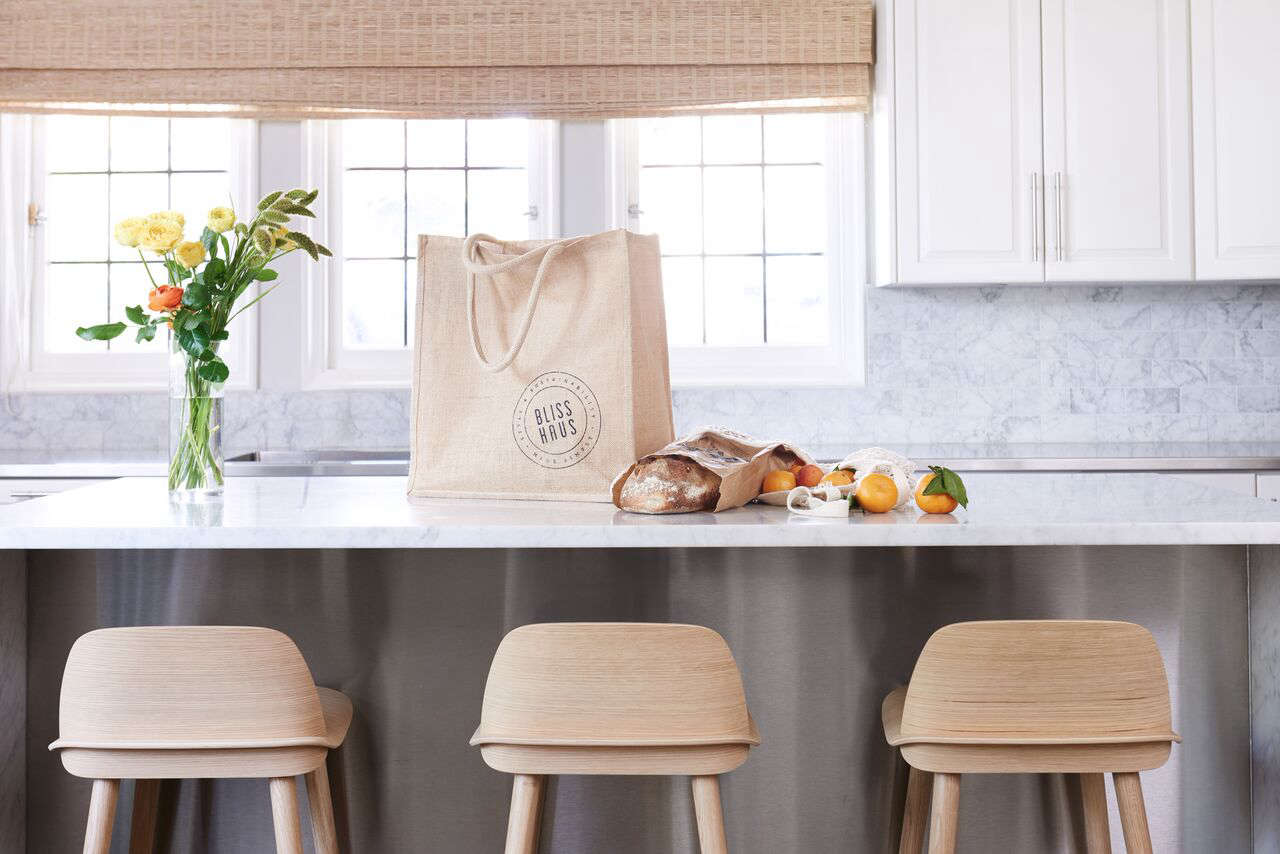 "The Market Kit is ""designed to let you stock your pantry without using a single shred of plastic."" It includes two jute tote bags, three mesh produce bags, three flour sacks, and two glass containers for $85."