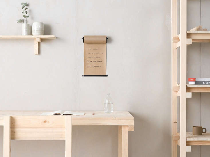 The George and Willy Daily Roller, a wall-hung roll of kraft paper.