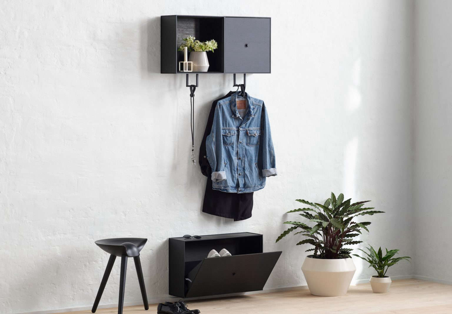 By Lassen Hallway Storage with Frame Rail Setup and Frame Show Cabinet