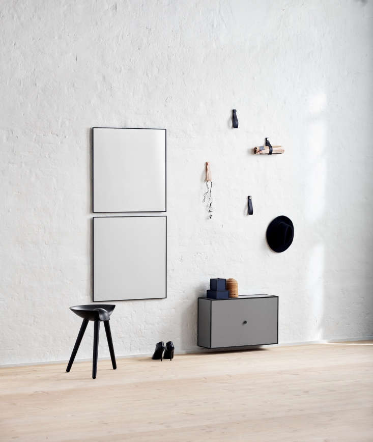 By Lassen Hallway Storage with Leather Wall Loops and Mirrors