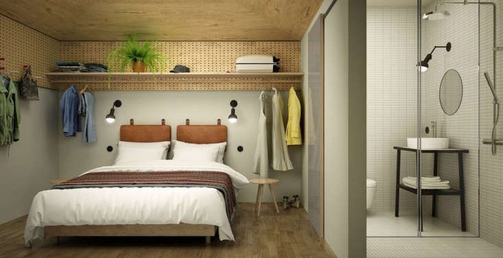 Hobo Hotel, Stockholm: a photo rendering of a guest room design by Studio Aisslinger.