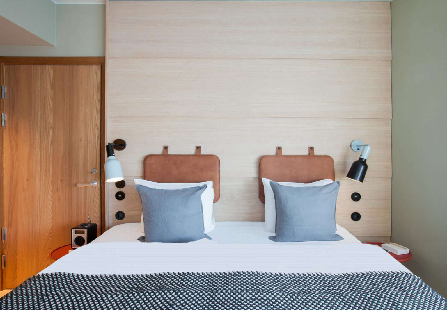 Leather headboard, Hobo Hotel Stockholm designed by Studio Aisslinger. Patricia Parinejad photo.