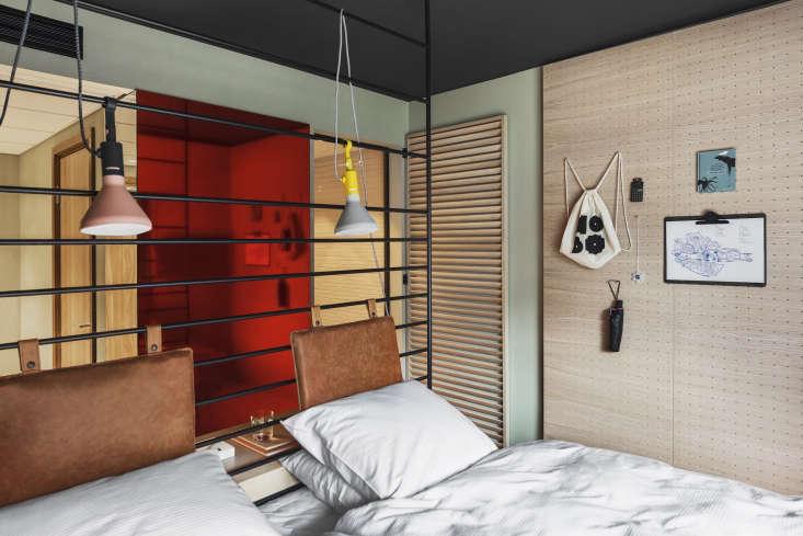 Red mirror, Hobo Hotel, Stockholm. Studio Aisllinger design. Erik Lefvander photo.