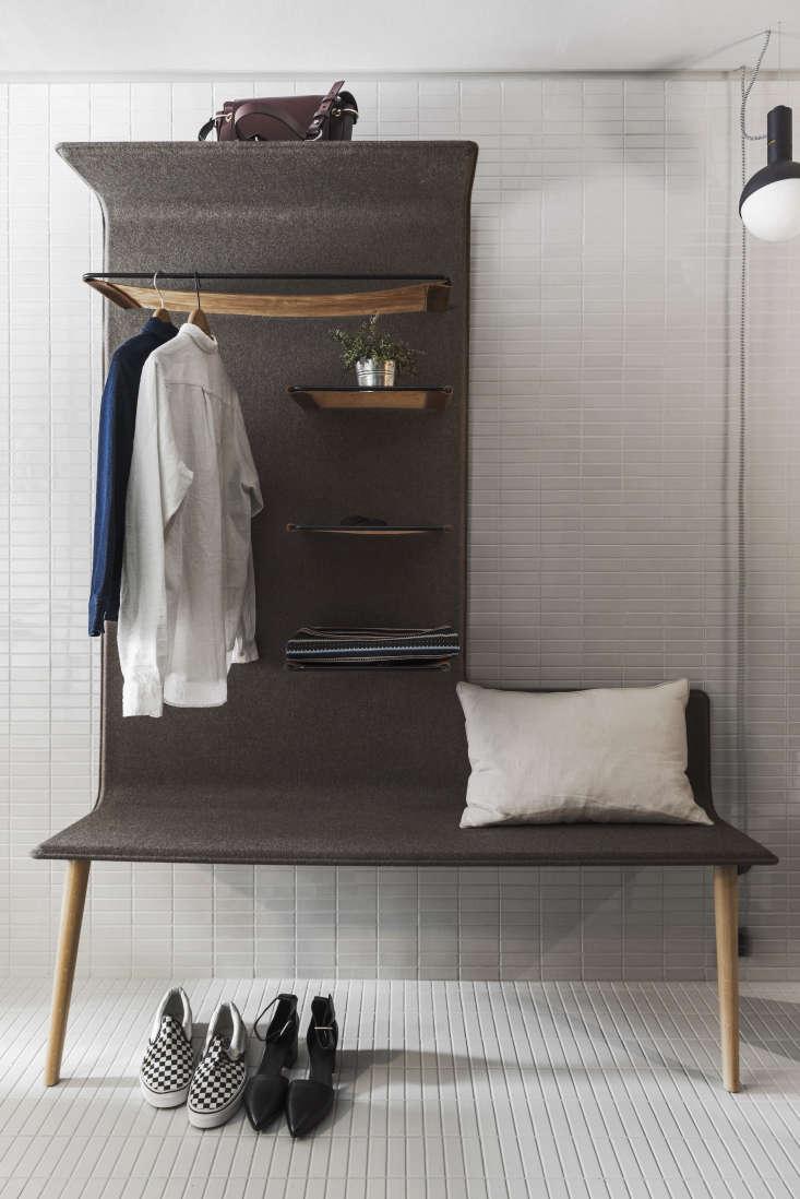 Felt-lined shelf bench, Hobo Hotel Stockholm designed by Studio Aisslinger. Patricia Parinejad photo.