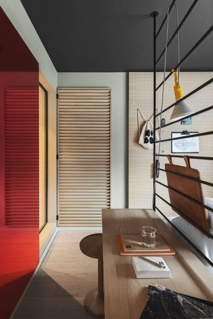 Combination desk and headboard, Hobo Hotel, Stockholm superior room. Studio Aisllinger design. Erik Lefvander photo.