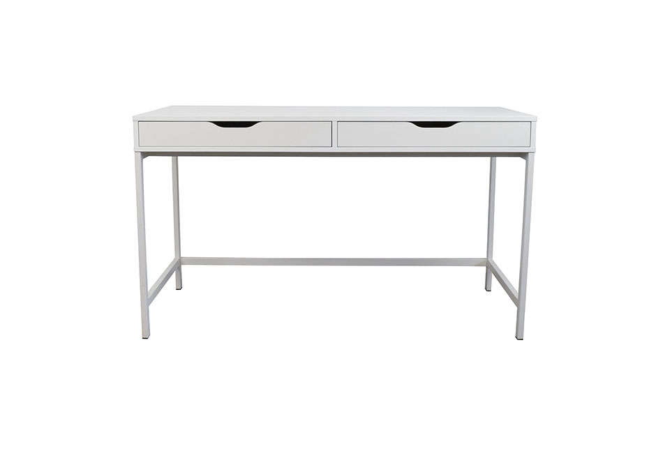 A single long compartment at the back of Ikea'sAlex Desk keeps cords corralled; they extend through a slot on the surface to reach a power outlet; $129 in gray or white.