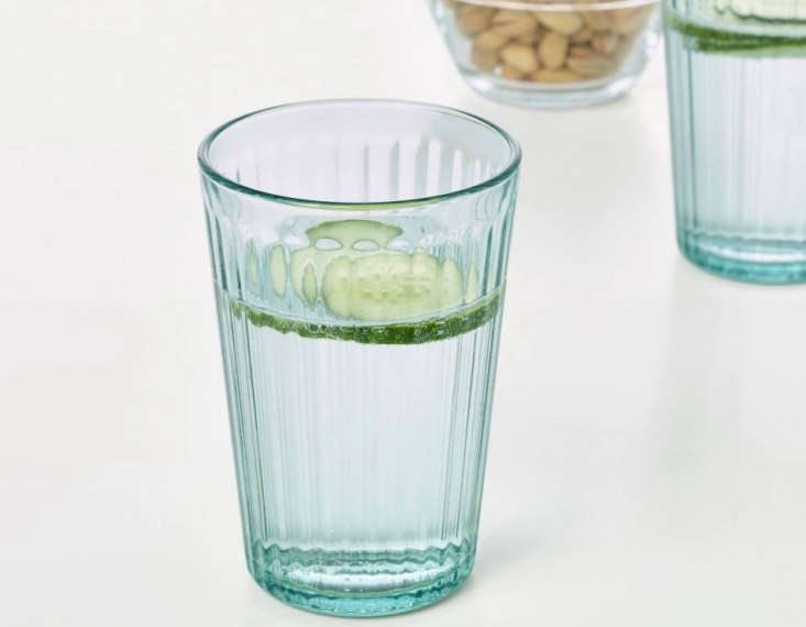 Kallana 10-ounce glasses are made of green tempered glass, so they're resistant to heat shock and impact; $6.99 for a set of six.
