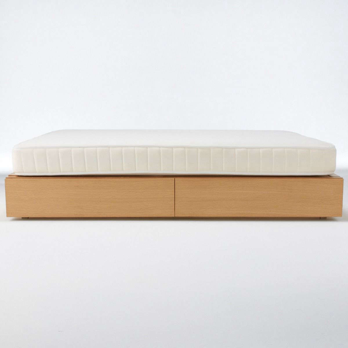 Muji's Oak Storage Bed has two large storage drawers and can be custom-built with headboard and bedside storage too (see featured image, at top); starting at $550.
