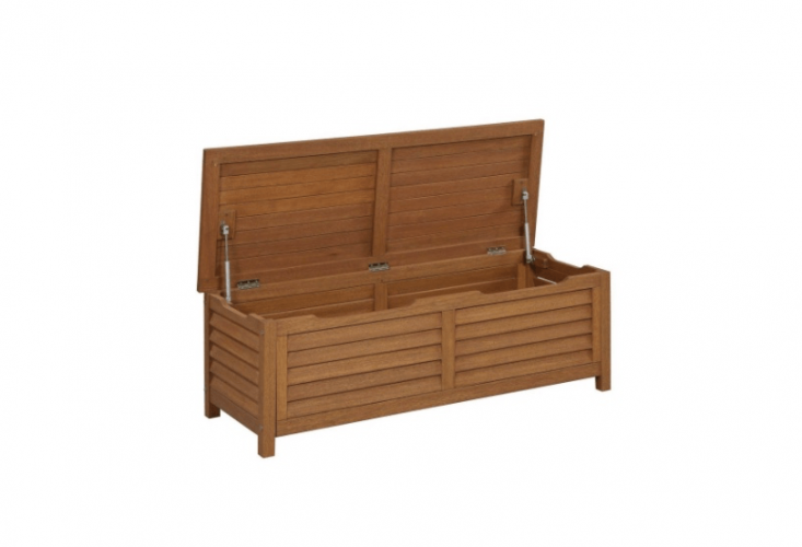 From Home Depot, a Montego Bay Patio Deck Box measuring 51.25 by 19.75 inches is 17.75 inches high; made of plantation-grown shorea wood, it is $203.54 from Home Depot.