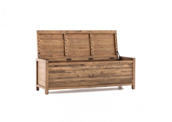 outdoor storage bench reclaimed pine West Elm