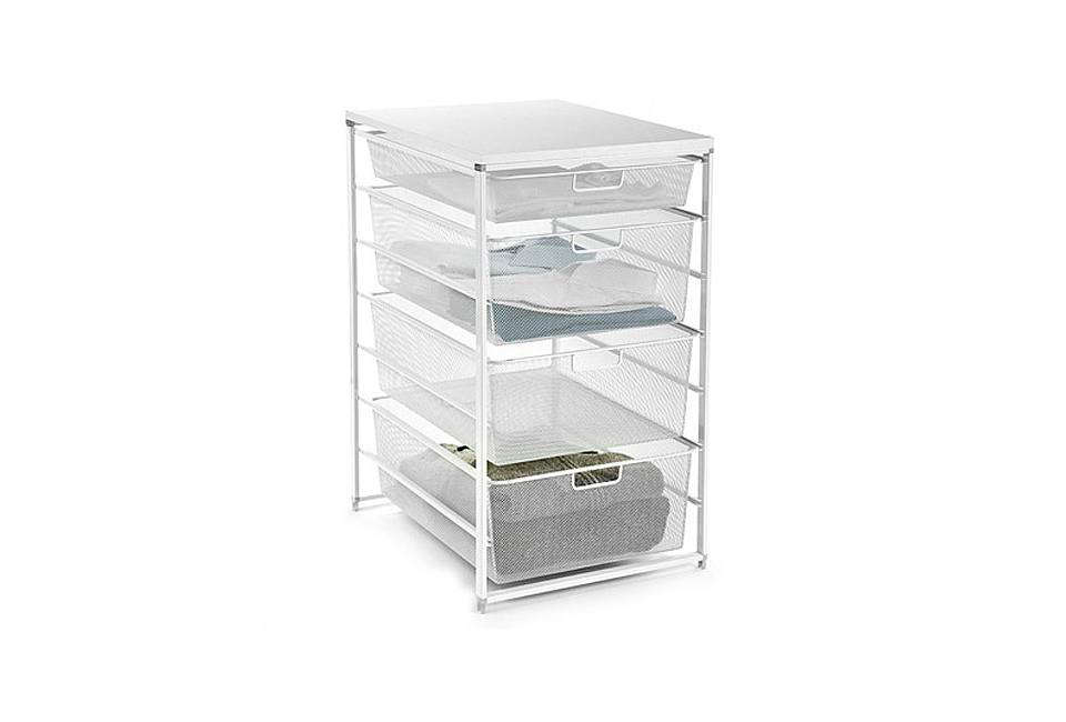 The Container Store White Elfa Mesh Closet Drawers