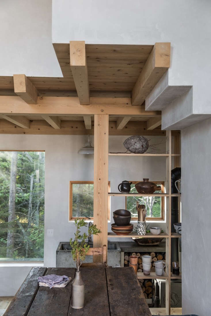 Soot House Kitchen Shelves by Anthony Esteves on Spruce Head in Maine, Photo by Greta Rybus
