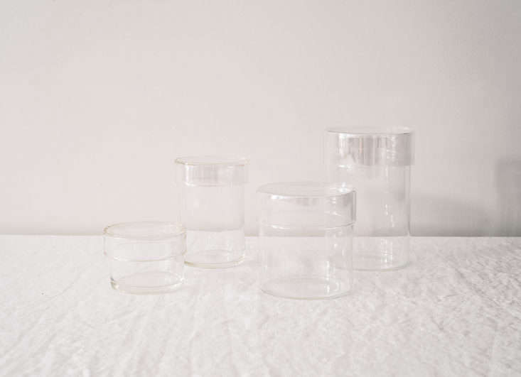 Lab-Style Cylindrical Glass-Covered Containers as part of the Remodelista Storage 75 Series