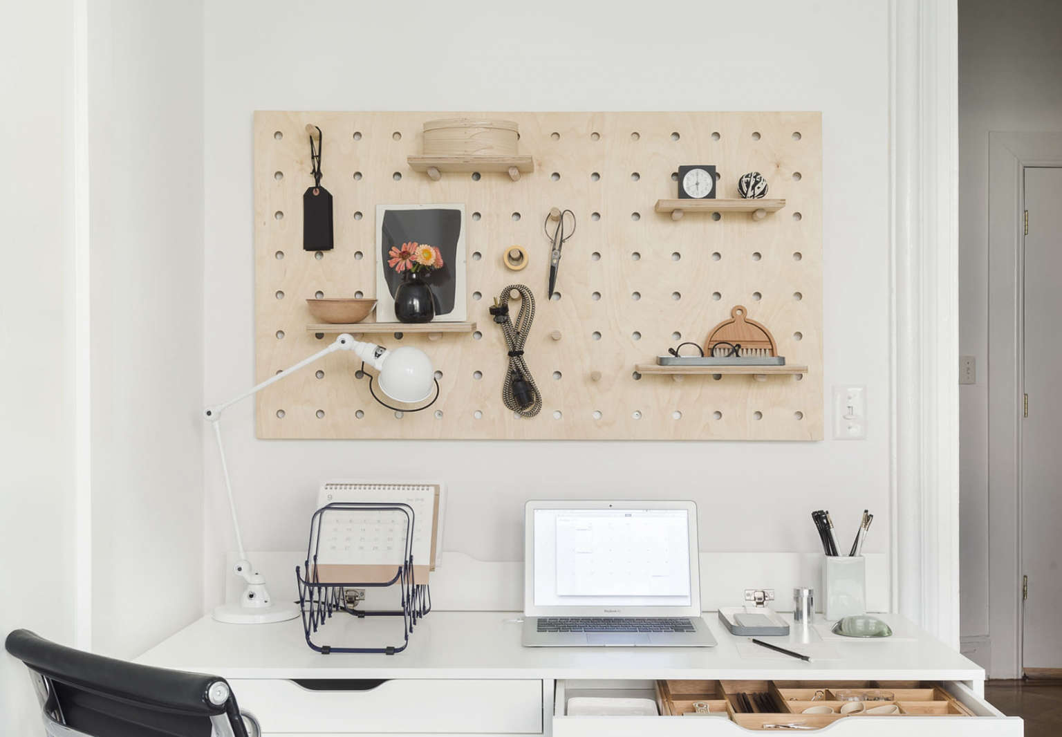 Home Office with Pegboard from The Organized Home, Photo by Matthew Williams