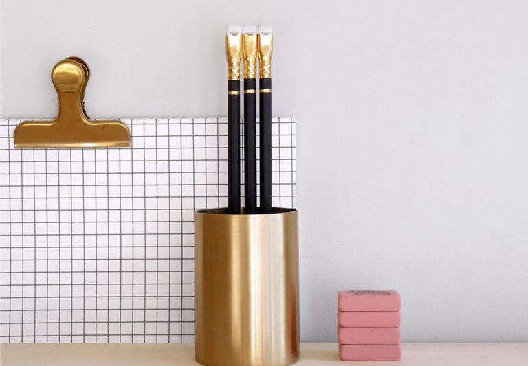 Brass pen pot from Present & Correct, London.