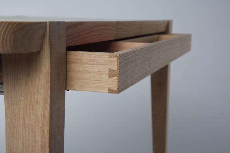 Detail, Studiomoe one-drawer Oslo desk made of American ash.