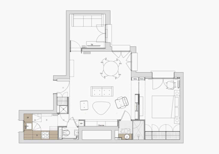 Apartment floor plan, architect Philippe Harden, apt SD Paris.