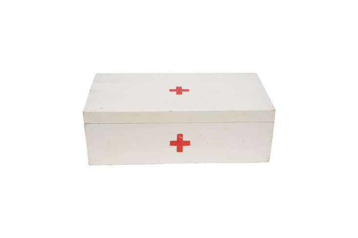 Vintage Cross First Aid Kit Metal Wall Mounted Box Industrial Decor
