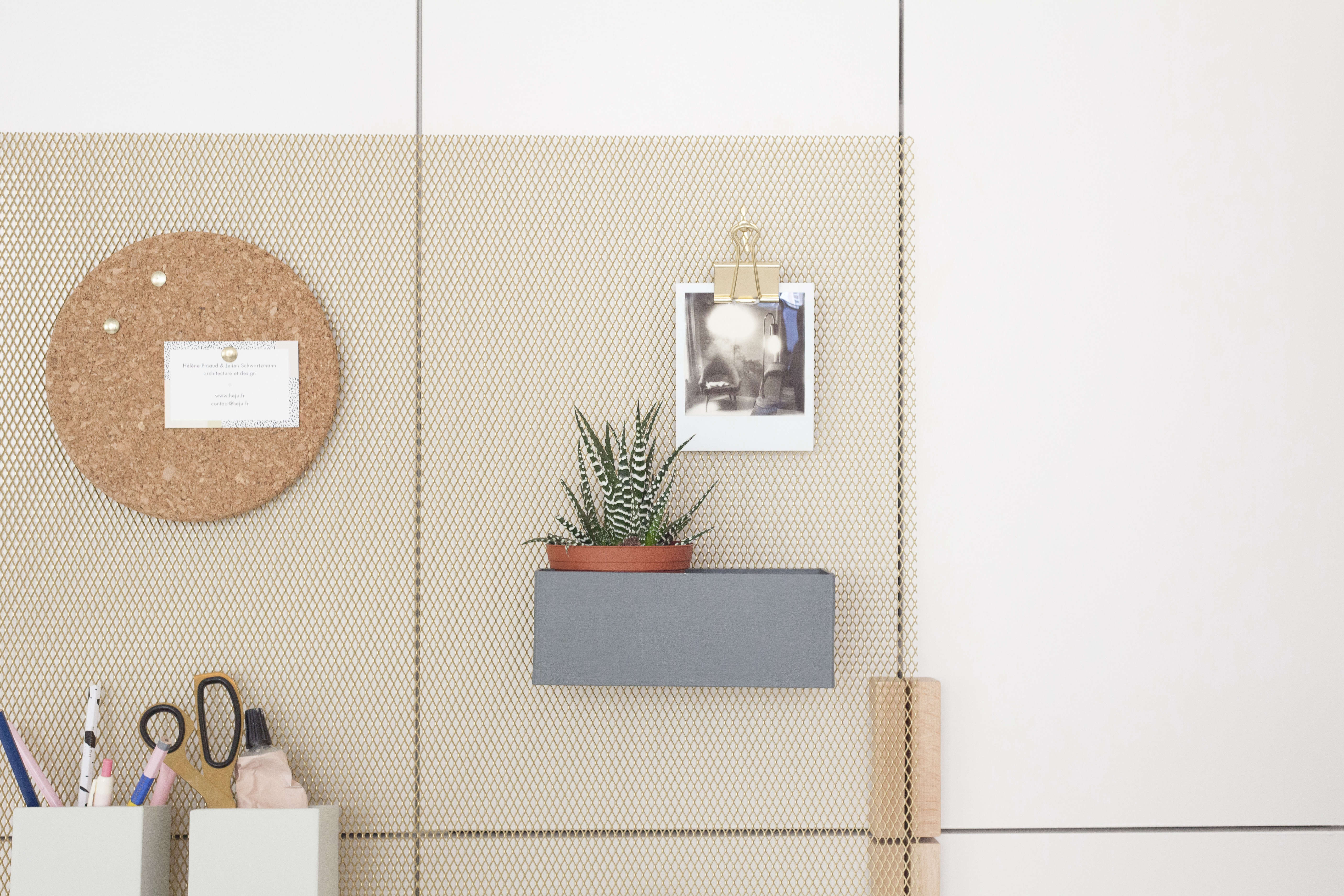 Detail of Heju's DIY metal wall organizer for the office and entry. Designed by 25-year-old Paris architects Hélène Pinaud and Julien Schwartzmann.