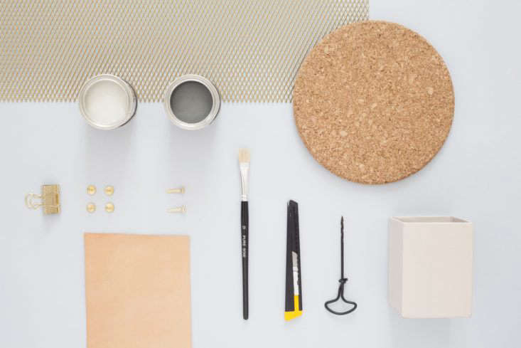 Materials for the DIY metal wall organizer by Heju.