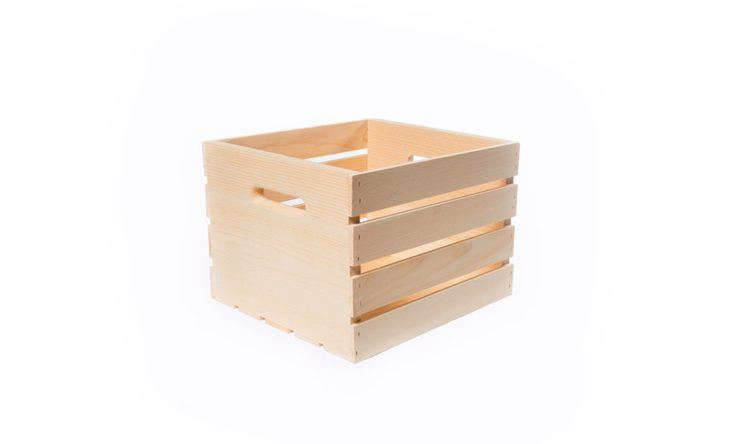 A Wood Crate in Medium is 13.5 inches long and the requisite 12.5 inches wide; $18.23 at The Home Depot.