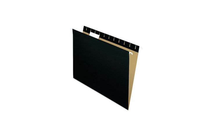 Letter-sizedPendaflex Recycled Hanging Folders in black are $12.54 for a box of 25 at Amazon.