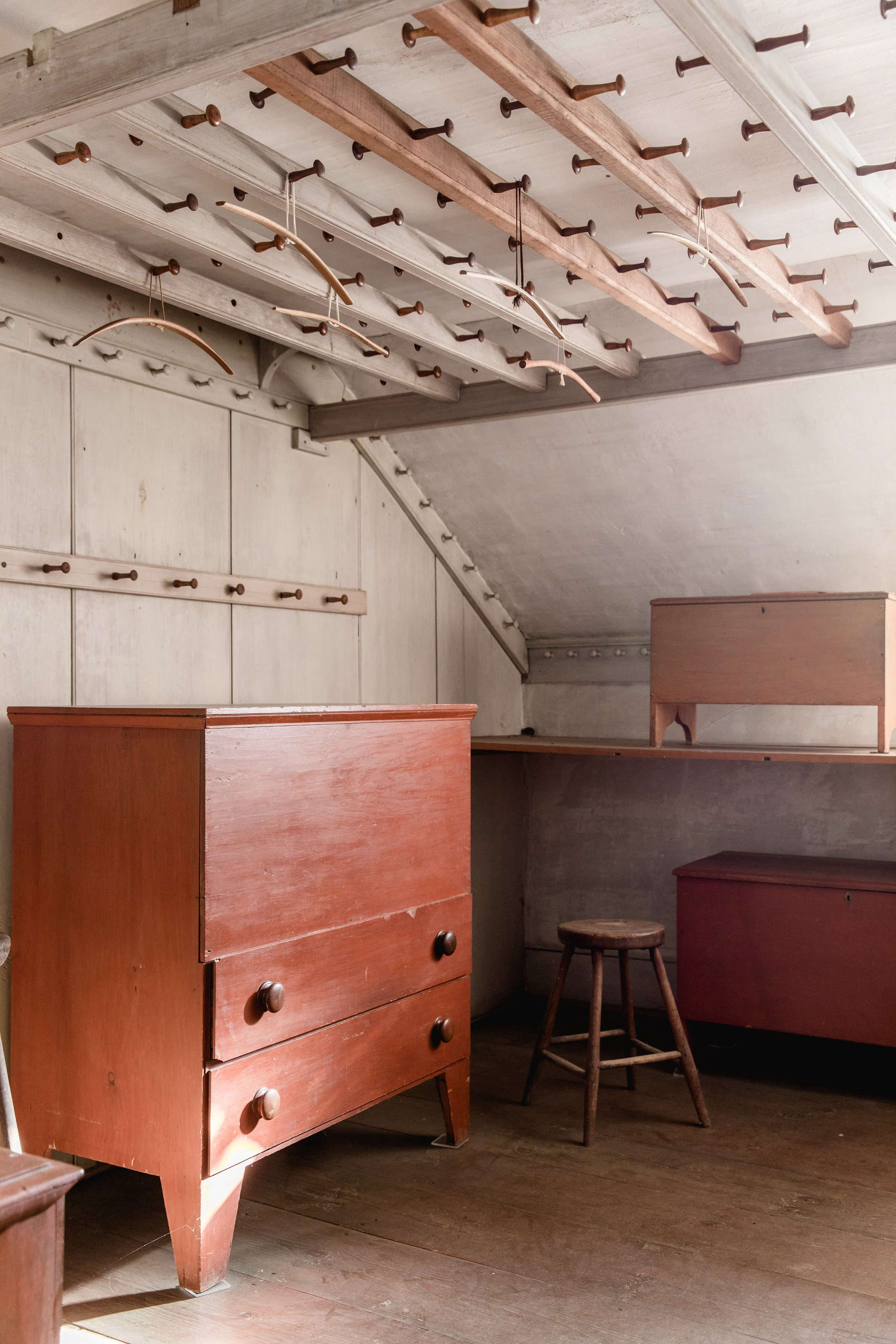 Closet with Peg Rails at Canterbury Shaker Village, Photo by Erin Little