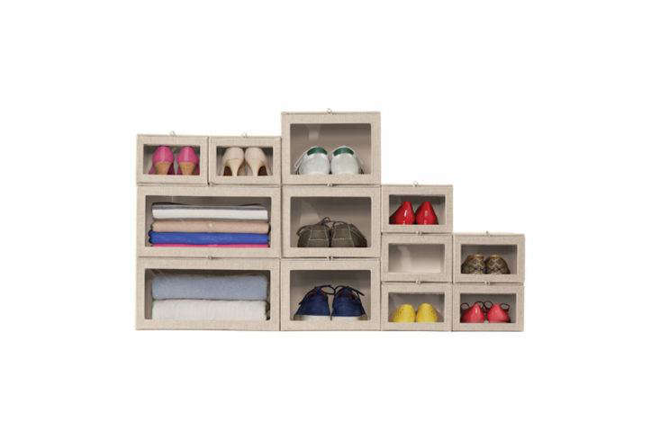 Container Store Linen Drop-down Boxes