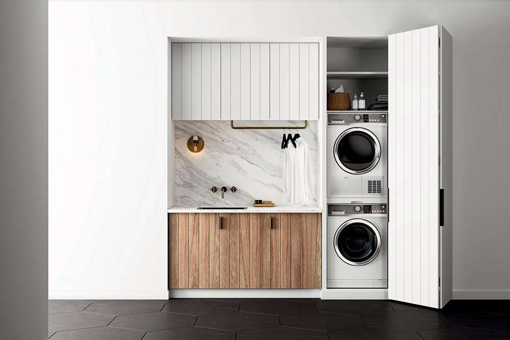 Fisher Paykel Marble Laundry Room Concealed Stacked Washer Dryer