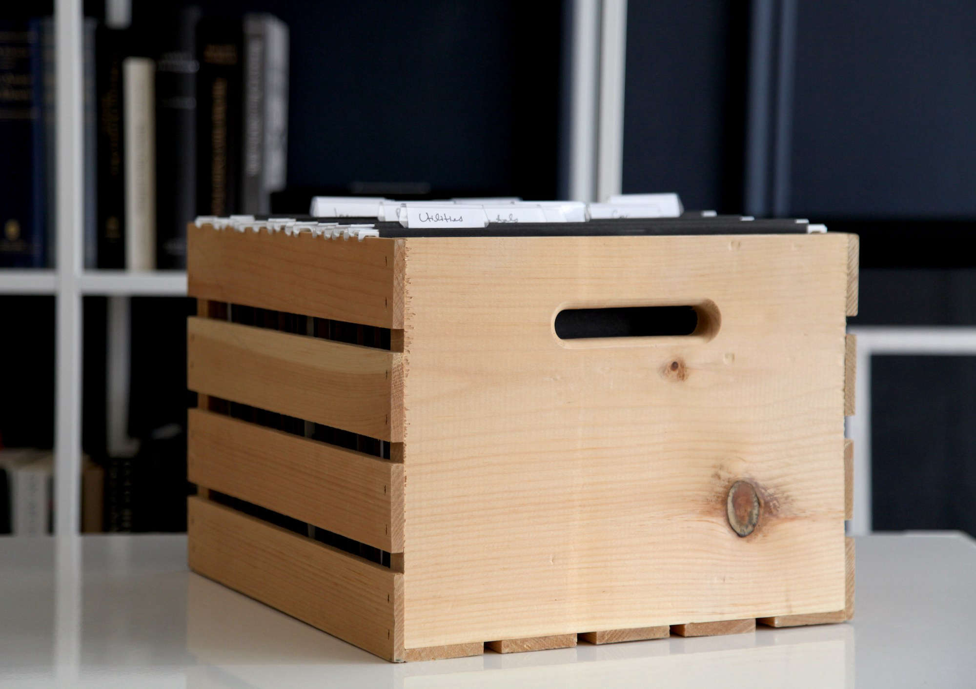 Pine Storage Crate as File Cabinet by Remodelista's The Organized Home