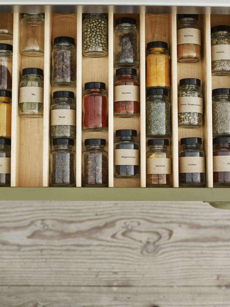 Plain English Spice Drawer in Osea Kitchen