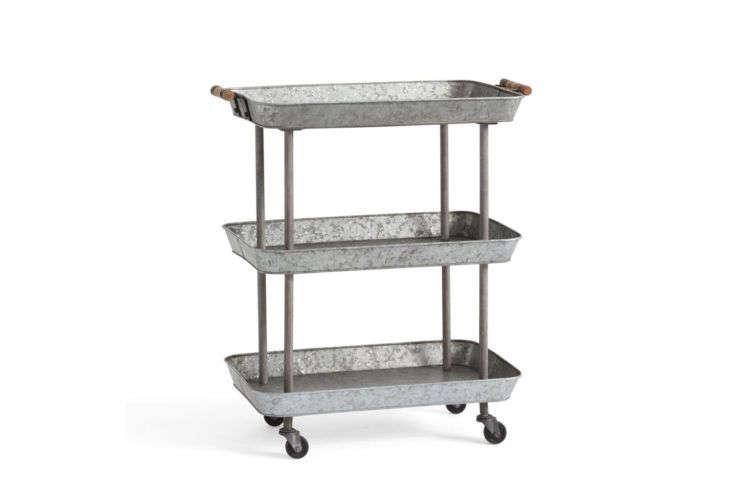 Rainier Galvanized Storage Cart at PB Apartment
