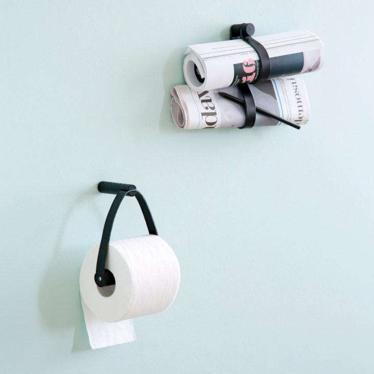Leather and wood toilet roll holder and leather double loops (for magazines and more) from By Wirth of Denmark.