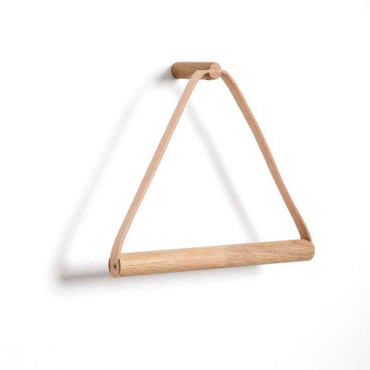 Leather and oak towel hanger from By Wirth of Denmark.