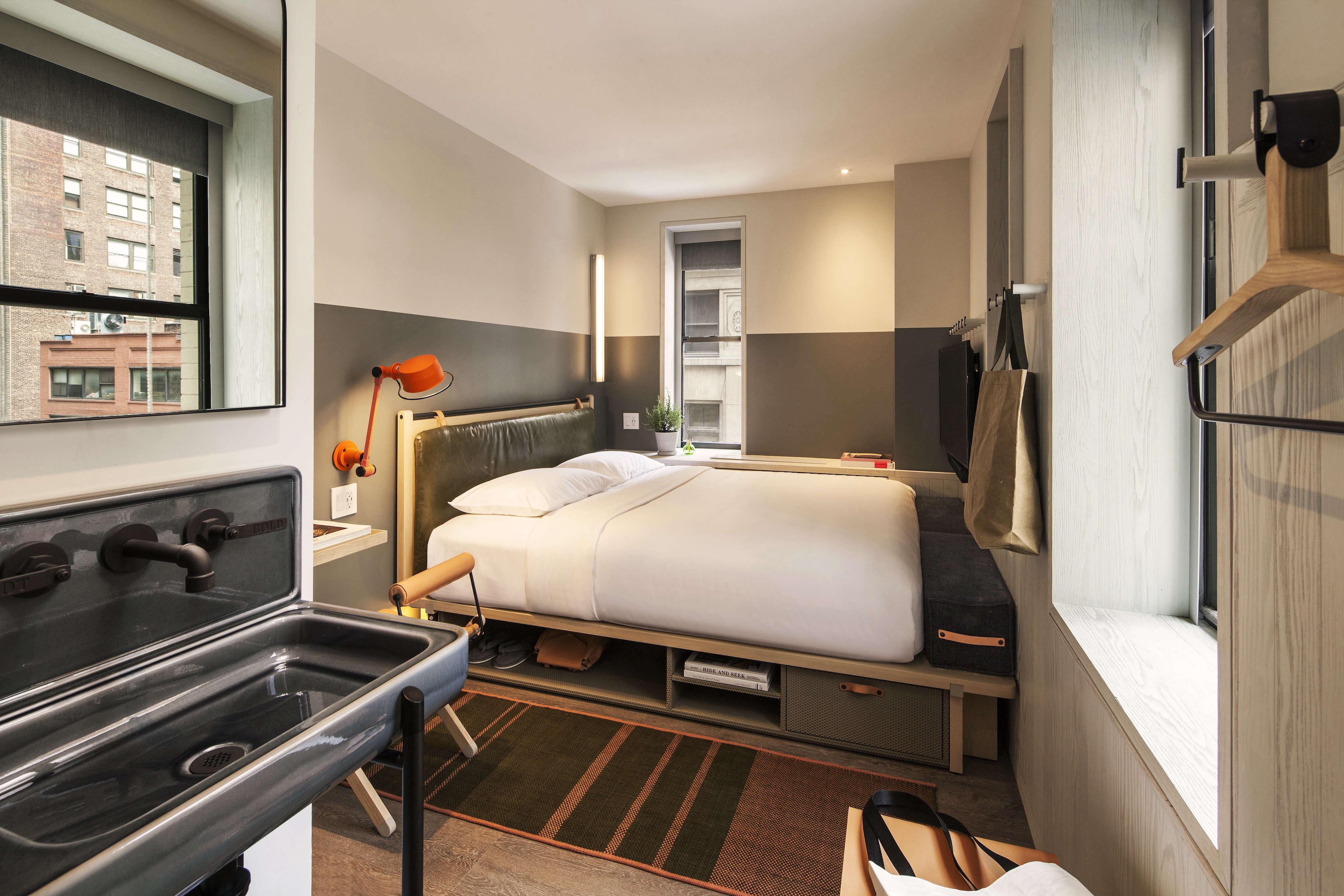 Moxy Hotel NYC, corner king room Yabu Pushelberg design.
