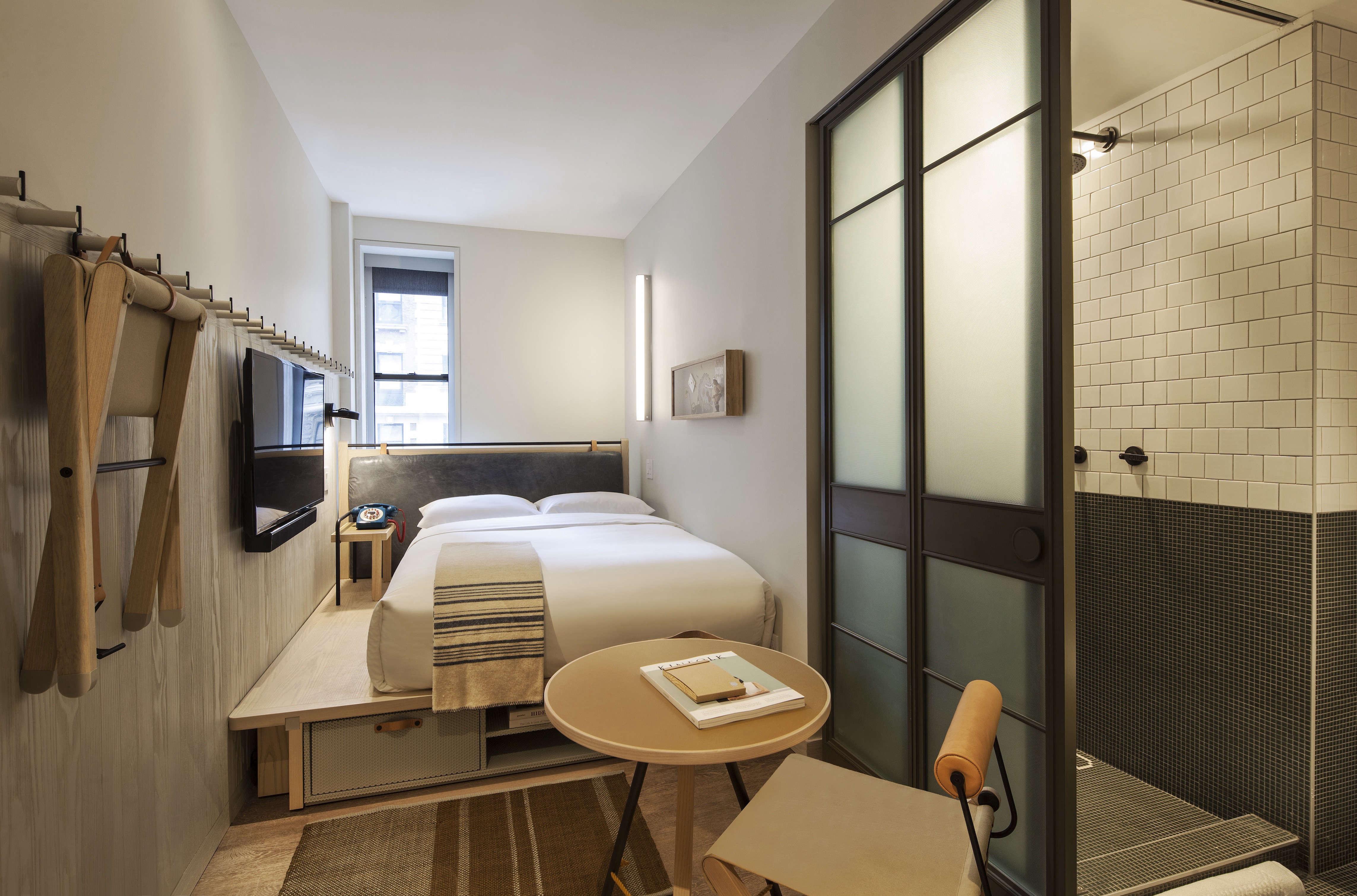 Moxy Hotel NYC, full bed, Yabu Pushelberg design.