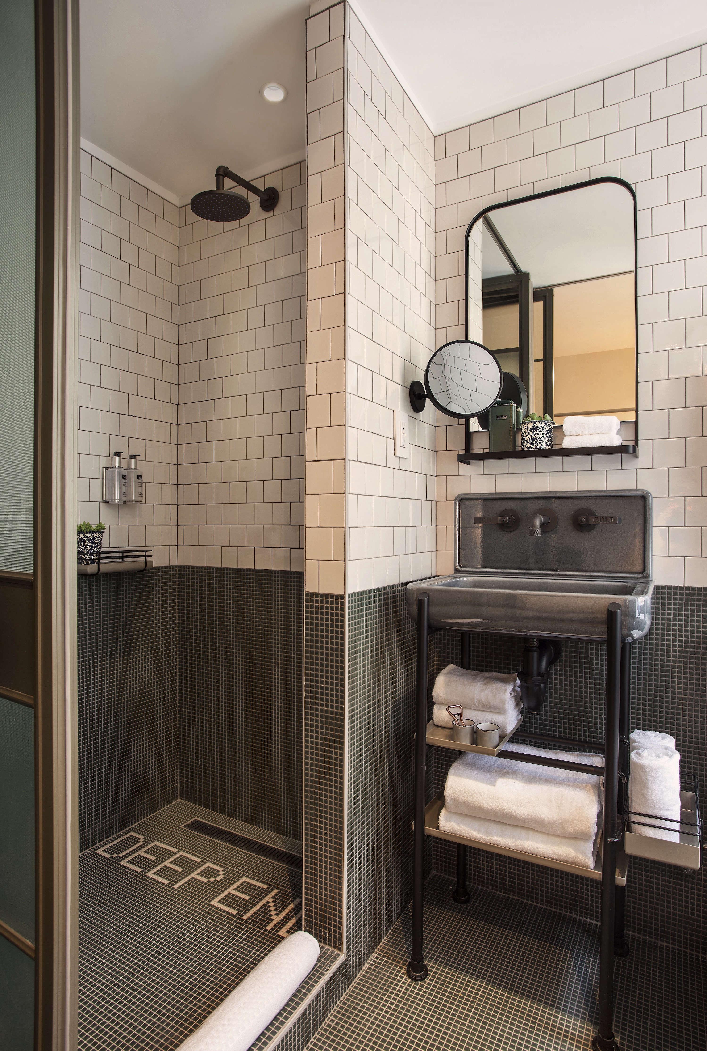 Moxy Hotel NYC, bathroom with in-room sink, Yabu Pushelberg design.