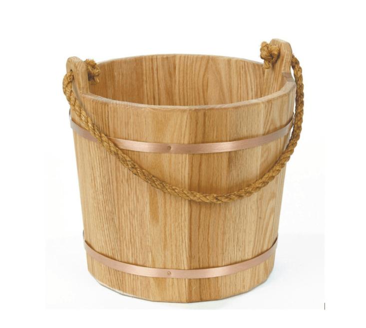 Old-fashioned oak bucket from Lehman's, Ohio.