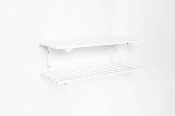FromEssem Design in Sweden, the Sara Shoe Rack is made of stained wood and powder-coated steel. It's available in white, black, and oak, in standalone or wall-mounted versions. Contact Essem for pricing and availability. For more from the company, seeEssem Design: Stylish Storage Solutions from Sweden.