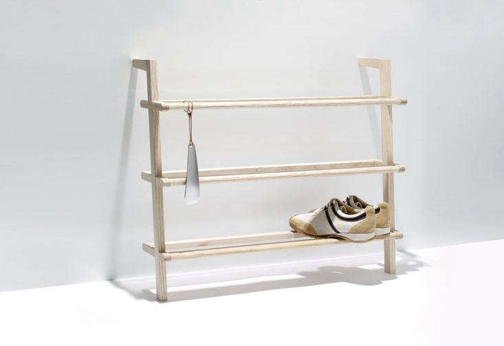 The Gaston Shoe Rack from German brandSide by Side leans against the wall while holding up to 12 pairs of adult shoes. Made of ash wood, the rack comes with a hanging metal shoehorn; £170 at Twenty Twenty1One.