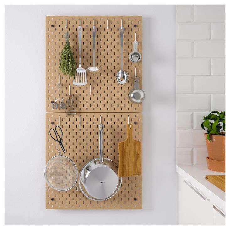 Ikea Skadis Pegboard in Kitchen Wood