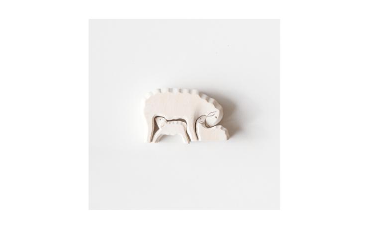 sheep lamb wooden toy set