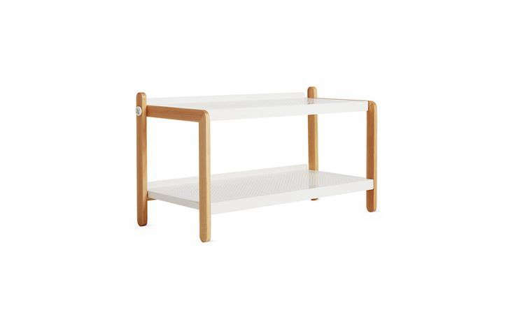The Sko Shoe Rack by Danish designerSimon Legald for Normann Copenhagen has an ash wood frame and white powder-coated steel shelves. Made in Denmark, it's $265 at Design Within Reach.